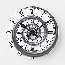 Moonluna Roman Spiral Nursery Wall Clock for Kids Wooden Wall Art Decoration Silent Non Ticking Christmas Clock Gifts 14 Inches