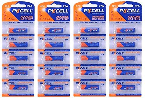 PKCELL 20 x 27A quecksilberfreie Alkaline 12V Batterie (4 Blistercards a 5 Batterien) MN27, A27, V27GA, L828, GP27A EINWEG Markenware FBA