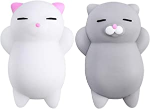 NUTTY TOYS Squishy Cat Set - 2 Soft Silicone Kawaii Kitties, Top Stress Relief Gifts 2019, Unique Stocking Stuffer Idea for Kids & Adults, Best Teen Girls & Tweens Present for Christmas 2019