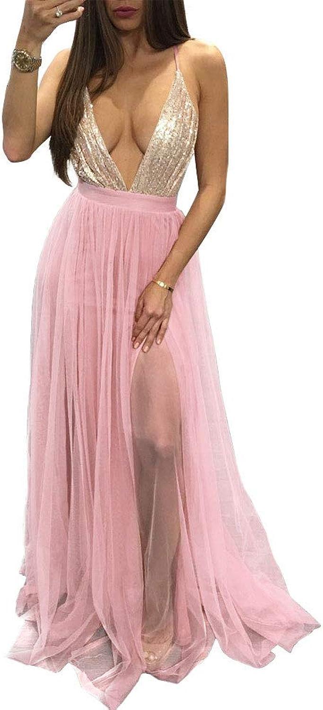 Womens Sexy Deep V Dress,Perspective Mesh Skirt Tassel Night Club Bar Temperament Highend for Beautiful Evening Party Cocktail Dress,M