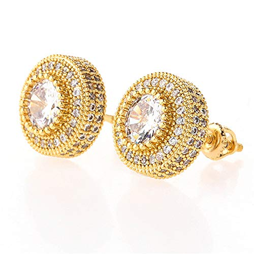 Fantex 18k Gold Plated Round Stud Earrings for Women Men, Iced Out Sparkle CZ Diamond Screw-back Stud Earrings