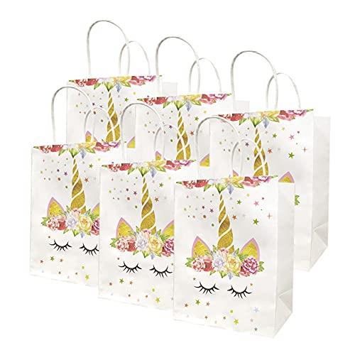 Dsaren 12 Piezas Bolsas de Fiesta Unicornios Reutilizable Bolsas de Regalo Papel con Asas Candy Bags Suministros de Fiesta de Cumpleaños