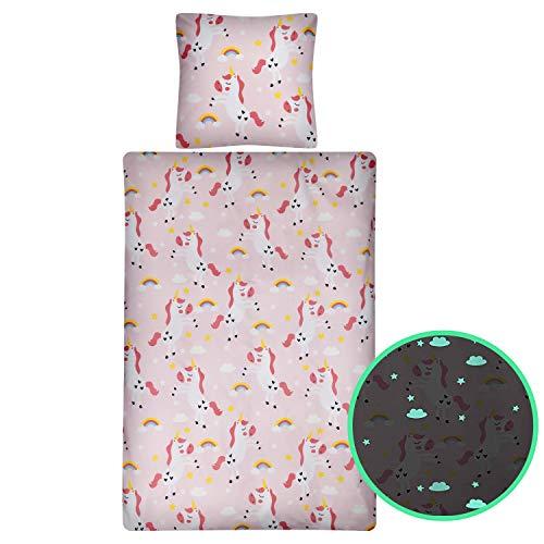 Aminata Kids Einhorn-Bettwäsche-Set Glow in The Dark 135 x 200 cm + 80 x 80 cm aus Baumwolle mit Reißverschluss, Mädchen & Jugendliche unsere Kinderbettwäsche mit Unicorn-Motiv leuchtet im Dunklen