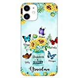 Happiness is Being a Grandma Personalized Phone Case Sunflower Butterfly, Custom Grandma with Grandkids Name Phone Case, Mothers Day, Grandparent Day, Birthday Gift for Mom, Mimi, Nana, Autum, Fall