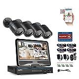 SANNCE 4CH 720P HD Kit de vidéosurveillance avec LCD Ecran Moniteur 10,1 Intégré +4 * 1MP Caméra Système Surveillance Jour/Nuit Haute Résolution P2P,sans HDD