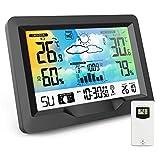 AODOOR Wetterstation Funk mit Außensensor, Multifunktion Funkwetterstation mit Digital Farbdisplay Innen und Außen Thermometer Hygrometer Wettervorhersage Uhrzeitanzeige und Wecker