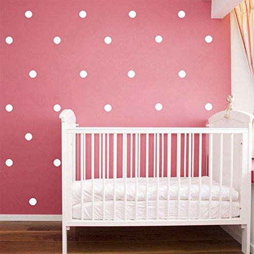 Slivercolor weiß Punkt Aufkleber,Herausnehmbarer Dot Aufkleber,Wandtattoo Punkte für Kinderzimmer Deko, 1,2 Zoll, 216 Punkte