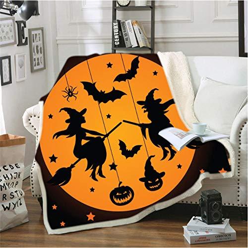 Pmhhc Halloween Digital Print deken super zacht gevoerde flanel stof plafond omhang dikke dubbele laag