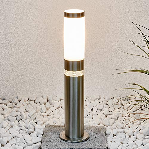 Lindby Außenleuchte \'Binka\' (spritzwassergeschützt) (Modern) in Alu aus Edelstahl (1 flammig, E27, A++) - Wegeleuchte, Pollerleuchte, Wegelampe, Sockelleuchte