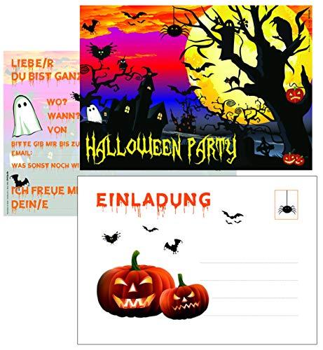 ArtUp.de 12 Halloween Party Einladungskarten mit passenden Umschlägen - gruselig schöne Karten im Set DIN A6 - mit Vorlagen für Einladungstext