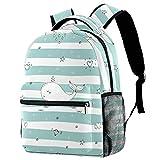 Dolphin Diamond Star - Mochila de viaje para mujer, diseño de rayas, color verde y blanco