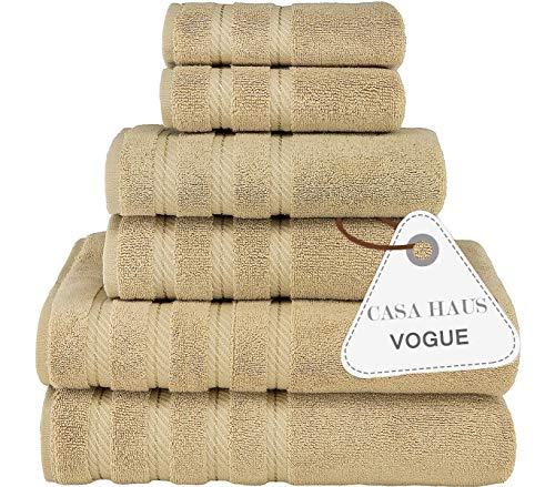 Casa Haus Vogue Torsione d'Aria di qualità Premium Cotone 600 gsm - Set Asciugamani 6 Pezzi- 2 Asciugamani da Bagno, 2 Asciugamani 2 salviette, Set Asciugamani -Beige