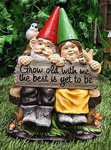 "ATL Autotechnik Figura decorativa para césped de jardín con texto en inglés ""Crece viejo conmigo MR and Mrs. GNOME"""