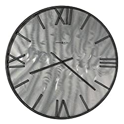 Howard Miller Reid Gallery Wall Clock 625-711 – Natural Machined Steel Finish, Charcoal-Finished Wrought Iron Accents, Modern Home Décor, Quartz Movement
