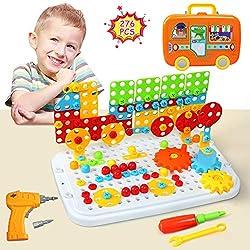 LEADSTAR BAU Spielzeug, 3D Puzzle Kinder Mosaik Steckspiel Bausteine Pädagogisches Spielzeug Spielwerkzeug Geschenkset mit Schraubendreher Schrauben für Kinder Junge Mädchen 3 4 5 Jahre Alt, 276 Pcs