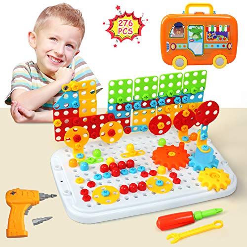 LEADSTAR Drill Puzzle Building Toys, 276 PSC Creative Toys Mosaic Electric Drill Screwdriver Play Tool 2D 3D Models Blocks Assembly DIY Educational Construction Set With Storage Box For Children Kids