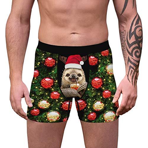 Vertvie Herren Boxershorts Weihnachten 3D Druck Unterhose Lustig Unterwäsche Retroshorts Atmungsaktiv Hipster Boxer Shorts für Männer (C-7#, M)