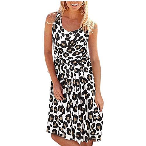 Banbry Damen Kleid Sommer Ärmellos Gefaltet Swing Kleider Blumenmuster Tunika Tshirt MiniKleid Sommerkleid für Damen Rundhals Locker Kleid Strandkleid
