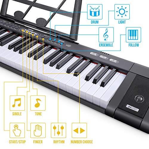 Digital Keyboard, Tastiera di Pianoforte Tastiera Musicale Pianola Tastiera Digitale Portatile con 61 Tasti , 200 ritmi 200 toni 60 brani demo,Supporto Foglio di Musica per Principianti