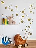 55mixtes Taille étoiles Stickers muraux Autocollant Kid Art Chambre d'enfant Décoration chambre à coucher en vinyle - doré
