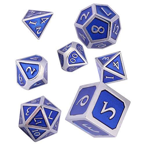 Würfel DND Set Polyedrische Würfelset, 7 Stücke Dice Set Metall D&D für Dungeons and Dragons Rollenspiel, RPG Dice Gaming und Mathematik Lehre (Cr & Royal Blue)