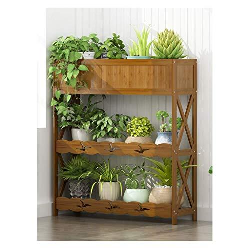 3-Tier Cut-Off Flower Stand Rack Storage Flower Shelf Bamboo Garden Plant Flower Pot Indoor Plant Rack Display Balcon Salon Maison (Taille: 60X25X90CM)
