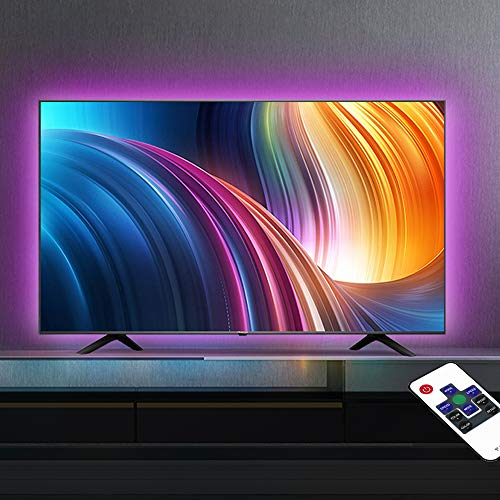 TV LED Backlight,USB Powered Color Changing RGB LED Strip Lights for 32-60 in Bias Lighting with RF Remote,8.2Ft