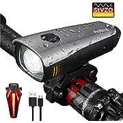 Antimi LED Fahrradlicht Set,StVZO Zugelassen USB Wiederaufladbar Fahrradbeleuchtung Set mit IPX4 Wasserdicht Frontlicht & Rücklichter,Fahrradlampe mit Samsung 2600mAh Li-ion Akku
