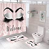 4 Piece Bling Eye Makeup Shower Curtain Sets with Non Slip Rugs, Toilet Lid Cover and Bath Mat, Black Text Welcome Shower Curtain Waterproof with 12 Hooks for Girls Kids Bathroom