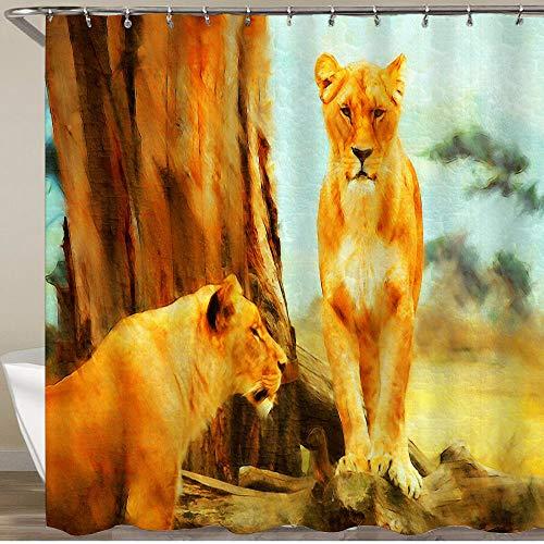 KGSPK Cortinas de Ducha,Concepto de Pintura al óleo de Leones bebé,Impermeable Cortinas Baño y Lavables Cortinas Bañera 180x180CM