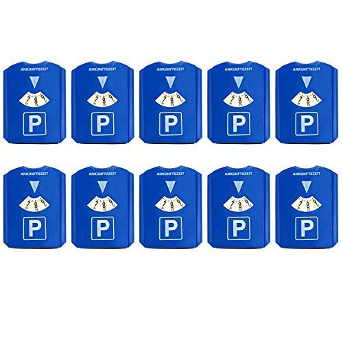 HAC24 10 Stück Parkscheibe mit Eiskratzer und Gummilippe Kunststoff Auto Parkuhr 15,5x12 cm Blau