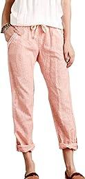 Pantacourt Femme Été Casual Pantalon Coton Lin Tai