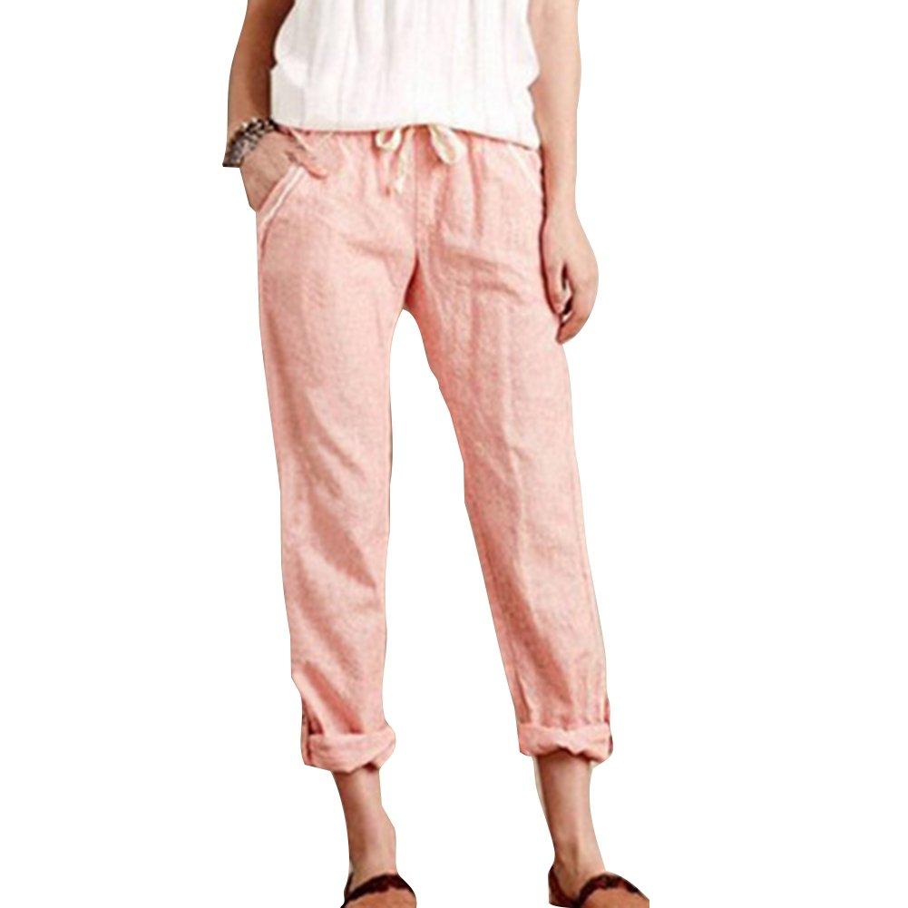 Pantacourt Femme Été Casual Pantalon Coton Lin Taille Elastique Slim Fit Pantalon Ample Fluide Confortable 7/8 Longueur Pantalon Con Cordon Léger Confortable Doux