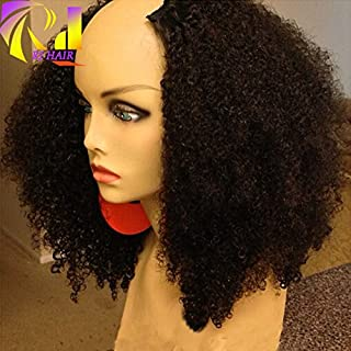 RJ HAIR 180% Density Afro Kinky Curly U Part Wig Human Hair Virgin Mongolian Remy Human Hair Upart Wigs Kinky Curls Middle U Shaped Wig (18inch)