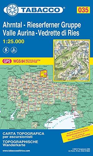 Ahrntal, Rieserferner Gruppe: Wanderkarte Tabacco 035. 1:25000 (CARTES TOPOGRAHIQ - 1/25.000)