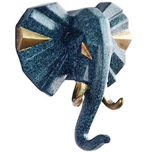 TZAMLI Elefant Wandhaken Tier Harz Kleiderhaken Ohne Bohren, Handtuchhaken Wand Tür Haken Aufbewahrung Ordnen Handtuch Kleidung, Retro Blau