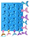 16 Cavity Gummy Mermaid Tail Mold DIY Candy Gelatin Maker Fishing Lures Cake Decorating Jello Shots Cupcake topper Soap Chocolate Making Ice Cube Tray Pie Pastry Fondant for Thanksgiving