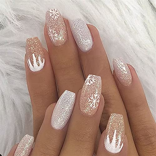 24pcs/box Fake Nails Nail Art Snowflake Silver Glitter Gradient Wear Waterproof Removable Press On Nails With Designs yixianjiacheng (Color : As show)