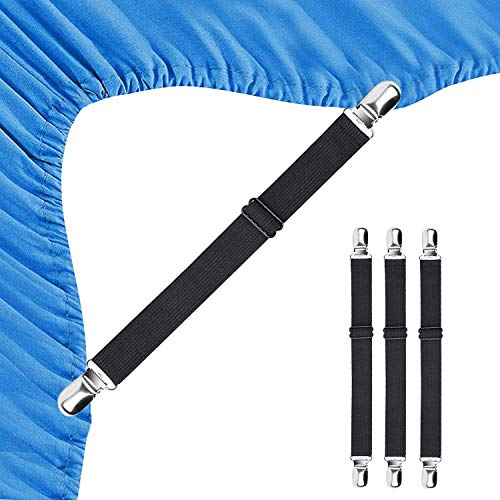BEADNOVA Bed Sheet Straps 4 Pcs Bed Sheet Holders Fitted Sheet Clips Adjustable Sheet Suspenders Mattress Fasteners Gripper Corner Clips for Bed Mattress Cover Fitted Bed Sheets Sofa Cushion