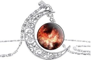 Hollow MoonガラスGalaxyネックレスシルバーチェーンペンダントファッションジュエリー星雲スペースネックレス