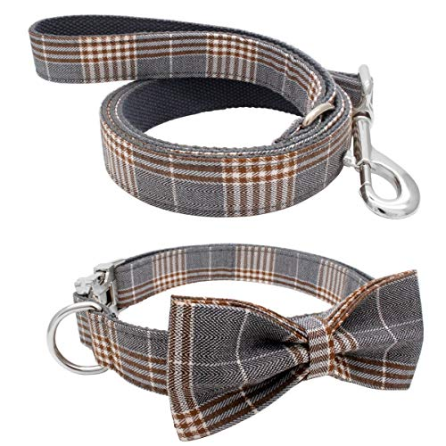 YOY Weiches, bequemes, verstellbares Haustier-Halsband mit Fliege, strapazierfähiges Hundehalsband und Leine, Set für kleine, mittelgroße und große Hunde, Katzen, Welpen, Hundezubehör