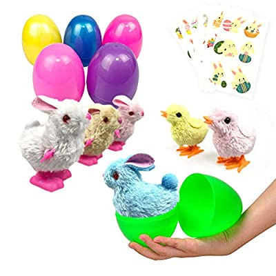Easter Eggs Filled 6 Pack Surprise Eggs with Wind Up Rabbits Inside, Colorful Pre Plastic Easter Eggs Toys For Kids Easter Basket Gifts Easter Basket Stuffers Fillers Party Favors with Stickers