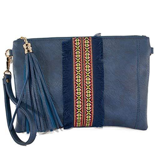 Bolso Mano Polipiel para llevar en Muñeca o colgar como Bandolera con Borla de Flecos en la Cremallera W15113 (Azul)