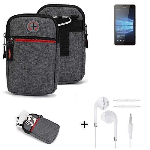 K-S-Trade® Gürtel-Tasche + Kopfhörer Für -Microsoft Lumia 950 XL Dual SIM- Handy-Tasche Schutz-hülle Grau Zusatzfächer 1x