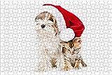 LHJOY Puzzle 9 años Puzzle 1000 Piezas Gatito Yorkshire Terrier Gato Perro Navidad Sombrero de Invierno Regalo de cumpleaños 75x50cm