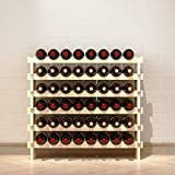 SogesHome 6-Tier 48 Bottle Stackable Modular Wine Rack Wood Wine Display Rack, Free Standing and Countertop Wine Storage Shelf for Home Living Room Kitchen Bar,SH-BY-WS6848M