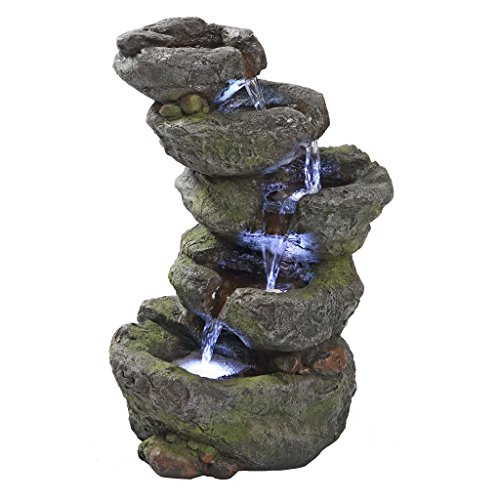 Water Fountain with LED Light - Breakneck Falls Garden Decor Rock Fountain - Outdoor Water Feature