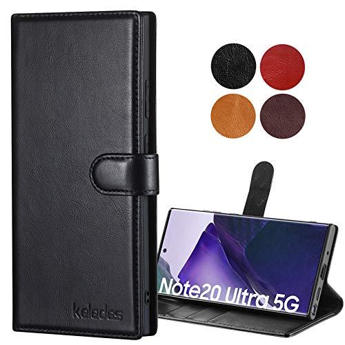 keledes Galaxy Note 20 Ultra Hülle, Handyhülle Magnetische Hülle Leder mit [Echtes Rindsleder] [RFID Schutz] [Kartenfach] [Stand] Stoßfeste Klapphülle für Samsung Galaxy Note 20 Ultra,Schwarz