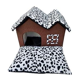 YUENA CARE Niche Maison Canapé pour Chat Chien Doux Chaude Nid Grotte Panier Coussin Amovible Corbeille Douille Lit pour Animal Domestique 55x40x42cm #1