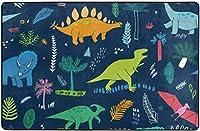 かわいい恐竜パターンスーパーソフト屋内モダンエリアラグふわふわラグダイニングルームホームベッドルームカーペットフロアマットベビーキッズ犬猫80x58インチ-60x39インチ
